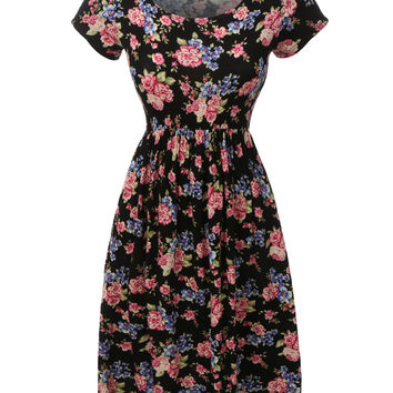 LE3NO Womens Floral Print A-Line Skater Dress