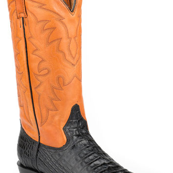 Roper Mens Faux Exotic On Leather R Toe Boots Alligator Belly