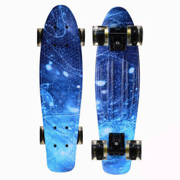 Galaxy Penny Style Cruiser Board 22 inch Retro Plastic Led Skateboard Complete