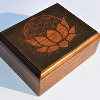 Engraved Wooden Box Lotus with Flower of Life , Sacred Geometry