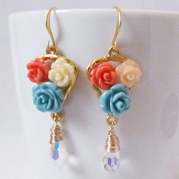 whimsical flower dangle earrings long earrings blue orange yellow floral rose earrings muticolor