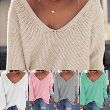 Jumper Pullover Batwing Long Sleeve Casual Loose  Sweater