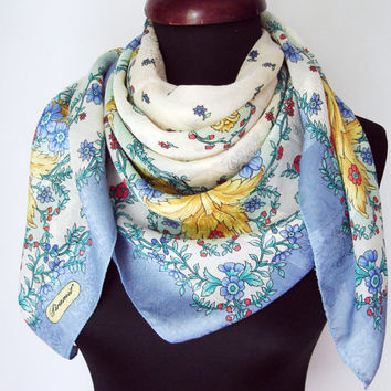 Women scarf, Vintage scarfs, Unique scarf, Mom gift, Grandmother gifts, Gifts idea, Beautiful scarf, Silkyy scarf, Baby blue scarf, My scarf