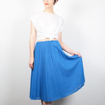 Vintage 70s Skirt Bright Blue Boucle Midi Skirt 1970s Pleated Skirt A Line Skirt Knee Length Skirt Classic Simple Skirt M L Extra Large XL