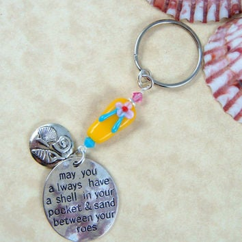 Beach Key Chain - Sea Shell Key Chain - Purse Charm - Beach Bag Charm - Flip Flop Key Chain - Flip Flop Purse Charm - Beach Purse Charm