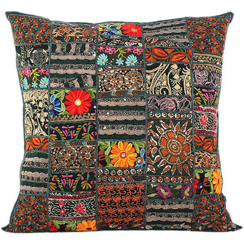 24x24 Indian Patchwork Pillow Cover, Black Bohemian Pillow, Indian Cushion Cover, Large Throw Pillow Cover, Floor Pillow Ethnic Pillow Decor