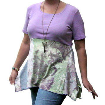 Lilac Tunic, Asymmetric Top, Upcycled Clothing, Purple Asymmetric Tunic, Womens Summer Tunic, OOAK Womens Tunic, Boho Top, Lilac Summer Top