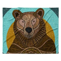"Art Love Passion ""Bear in Grass"" Brown Blue Fleece Throw Blanket"