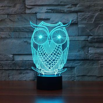Owl Shape 3D LED Lamp