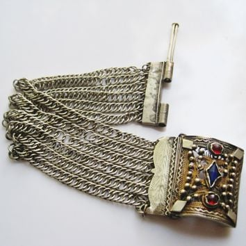 Antique Bosnian Silver Chain Bracelet Balkan Jewelry from The Ottoman Era