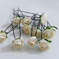 12 pcs cream flower hair clip