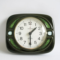 Ceramic Wall Clock by Junghans / 60s 70's Germany / Green wall clock