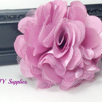 Mauve satin tulle flower - diy wedding flowers - fabric flowers - wholesale flowers - hair bow supplies - satin flower- tulle flower