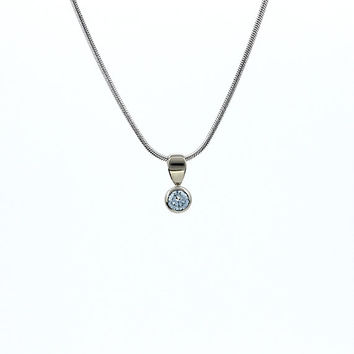 Blue diamond pendant in white gold chain, diamond necklace, Blue diamond jewelry, bezel pendant, simple diamond necklace, nickel free