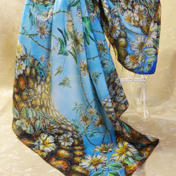 Original silk shawl Sky Roads Sentinels. Unique Hand Painted Square Scarf. Silk Painting. Blue green, white flowers. Ready. 71x71cm, 28x28""