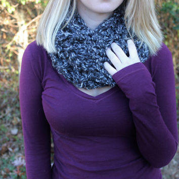 Soft Grey with Twists of White Knitted Circle Scarf With Double Knit Loop Pattern, Chunky Cozy Fashion Neck Warmer