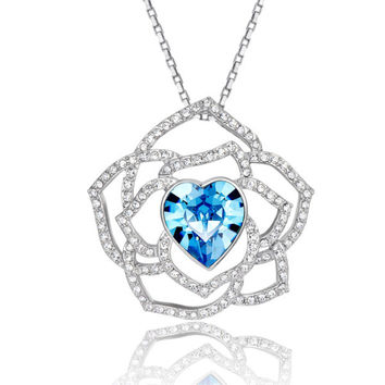 Heart Shape Aquamarine Crystal Large Pendant