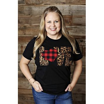 LOVE Shirt with Leopard Letters and Buffalo Plaid Heart