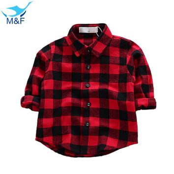 M&F Fashion Baby T-shirt Blouse Long Sleeve Classic Red Clothes Tops For Infant Boy Autumn Pure Cotton Casual Newborn Girl Tees