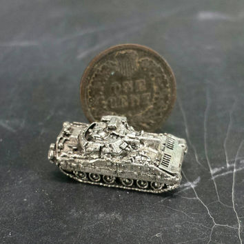 Pewter Bradley Tank Miniature Figurine Military Army Diorama Craft Mixed Media Altered Assemblage Art Repurpose Jewelry Supply Game Pieces