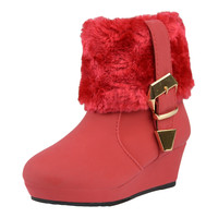 Kids Ankle Boots Fur Cuff Buckle Accent Casual Wedge Shoes Red SZ