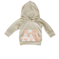 oatmeal baby hoodie, pink triangle hoodie, baby girl hoodie, baby jogger outfit, baby girl sweatshirt, modern baby clothing