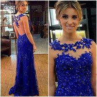 Backless Royal Blue Apploique Prom Dresses