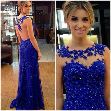 Royal Blue Beading Sleeveless Prom Dresses