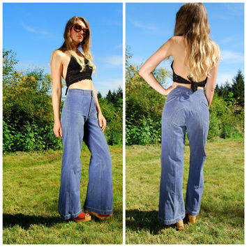70s Bell Bottoms Button Fly High Waisted Denim 1970's His N Hers Bell Bottom Jeans Sanforized Denim Western Rock N Roll Hippie Flared Pants