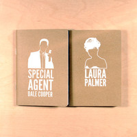 Kraft Pocketbooks Screenprinted Dale Cooper & by oneupdesigns