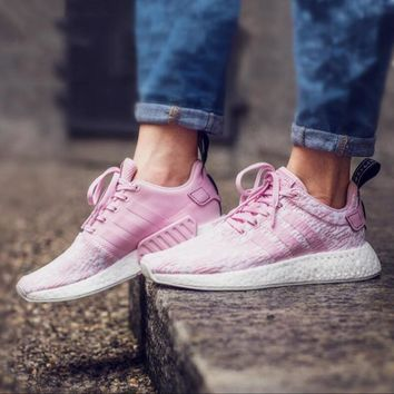 Adidas NMD R2 Boost Trending Women Casual Sport Sneakers Jogging Shoes Cherry Blossom Powder I