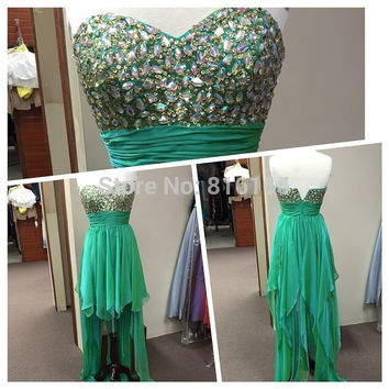 Green Chiffon Crystal Long Back Short Front  Dress Party 2017 Hot Sale Bridesmaid Dresses Gown