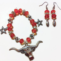 Texas Longhorns Bracelet Set, Longhorns, Texas Football, Football Accessories, Gifts for Her, University of Texas, College Football, orange