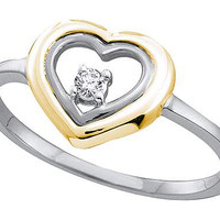 Round Diamond Ladies Fashion Heart Ring in 10k White Gold 0.04 ctw