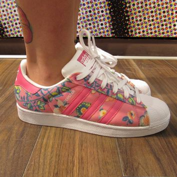 Adidas Superstar II Originals Pink Floral Womens   Girls Casual Shoes -  S75128 d7290455bd1b