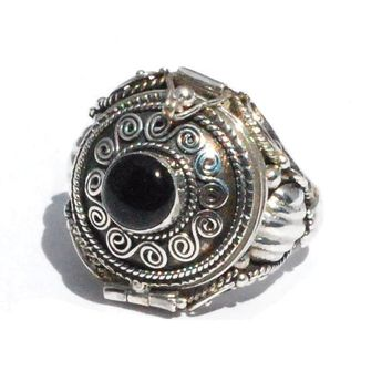 Sterling Silver Bali HandMade Round Black Onyx Poison Ring