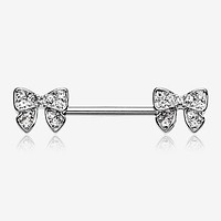 A Pair of Dainty Bow-Tie Sparkle Nipple Barbell Ring