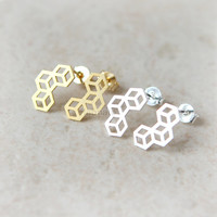Tri cubes Earrings / choose your color, gold and silver