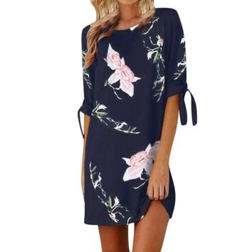 Fashion Women Floral Printed Dresses Girls Summer Half Sleeve Casual Chiffon Dress Ladies O-neck Casual Loose Beach Sundress #LH