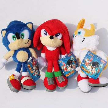 9'' 23cm Sonic Plush Toy Sonic Tails Knuckles the Echidna Soft Stuffed Sonic Plush Toy Dolls With Tag