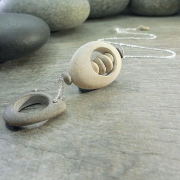 Pebble Pendant, Zen Necklace, Mindfulness Jewelry, Stacking Stones, Contemporary Design, Balance Rocks, Sterling Silver, Delicate Chain
