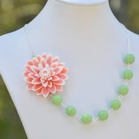 Large Pink and White Flower Chunky Asymmetrical Necklace with Soft Green Glass Beads.  Asymmetrical Statement Necklace.