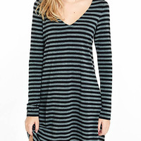 Black And Gray Stripe V-neck Trapeze Dress from EXPRESS