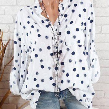STYLEDOME Women Casual Adjustable Long Sleeve Polka Dot Print Stand Collar Pockets Button Blouses Tops Size 5XL 2018