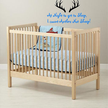 Deer antlers-horns-at night to get to sleep Large Nursery Boys Room Custom Vinyl Wall Decal art Lettering Graphic sticker