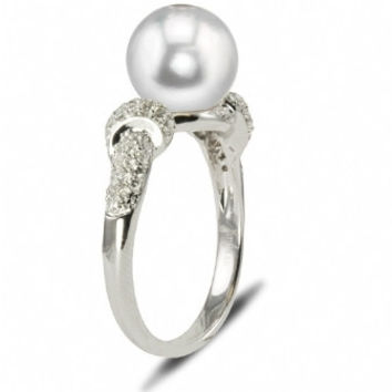 """Imperial Pearl: 14K White Gold 9-9.5mm Freshwater """"Crown Select"""" Pearl & Diamond Ring"""