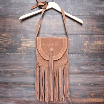 boho fringe crossbody bag - tan