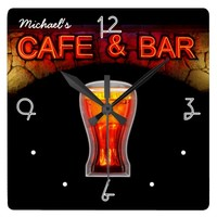 Neon Light Mancave Home Personalized Bar Clock