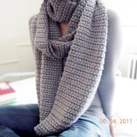Long Gray Infinity Scarf, Customizable