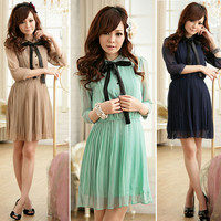 New Korean Women Chiffon Summer New Fashion Short Sleeve Solid Color Mini Dress